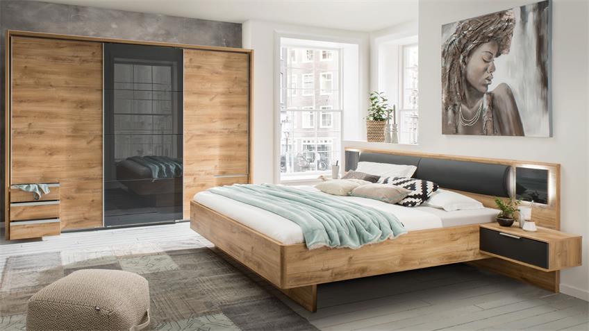 Schlafzimmer VALENCIA 4-tlg. Eiche Glas grey graphit LED