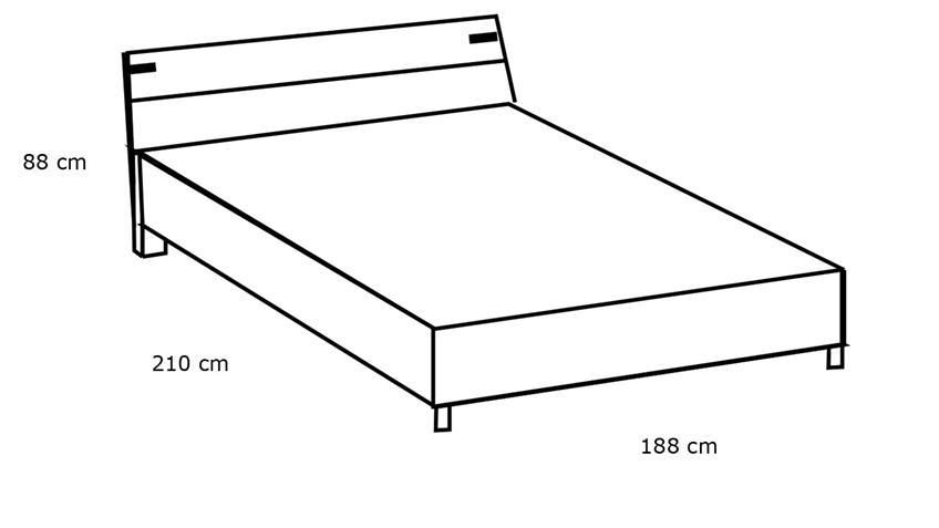 Futonbett MALMÖ Bett silver fir graphit 180x200 cm