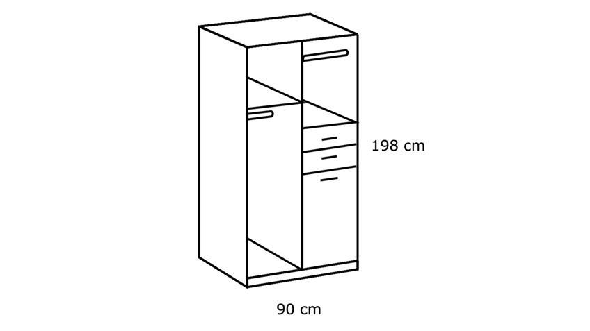 Kleiderschrank FRANKFURT 2-trg. weiß Spiegel 90 cm