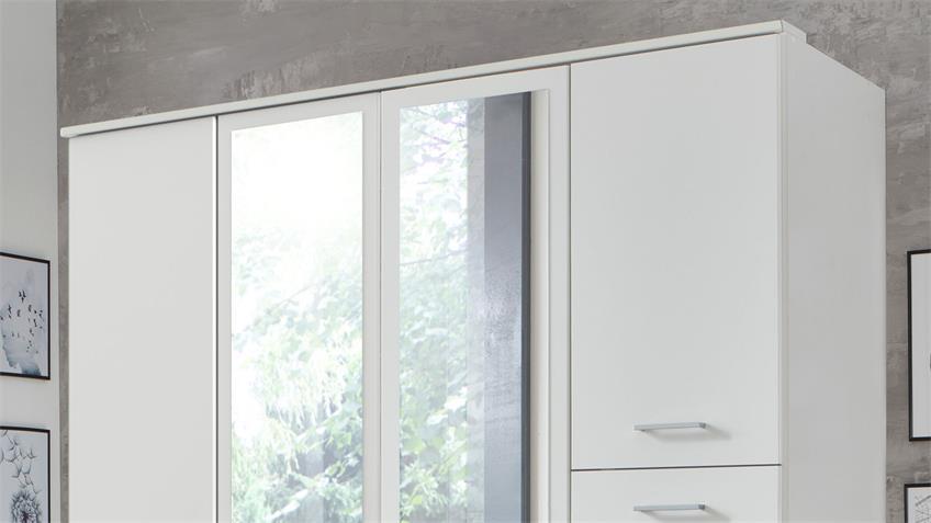 Kleiderschrank FRANKFURT 4-trg. weiß Spiegel 180 cm