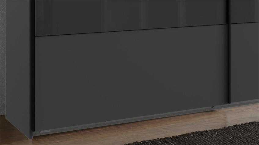 Schwebetürenschrank ALTONA 2-trg. graphit Glas grey 225 cm