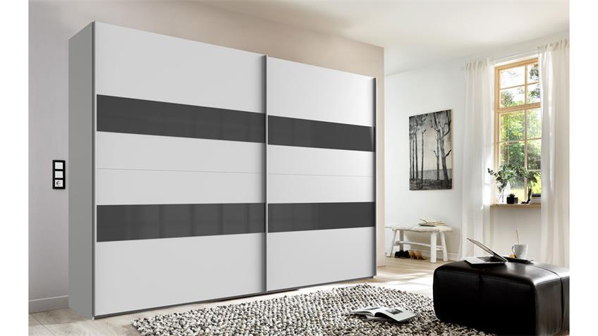 Schwebetürenschrank ALTONA 2-trg. weiß Glas grey 270 cm