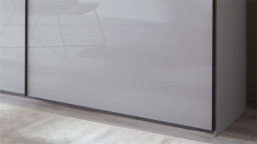 Schwebetürenschrank SEOUL 2-trg. Glas light grey 200 cm