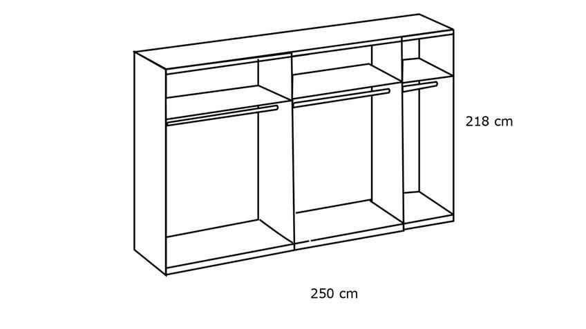 Schwebetürenschrank SEOUL 2-trg. Glas light grey 250 cm