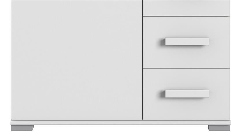 Kommode MAINAU Schrank 1 Tür weiß 4 Schubkästen 81 cm