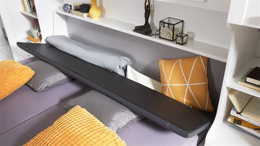 Bett MAINAU weiß Bettkasten Kopfteil gepolstert 180x200 cm