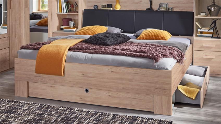 Bett MAINAU Hickory-Oak gepolstert Bettkasten 180x200 cm