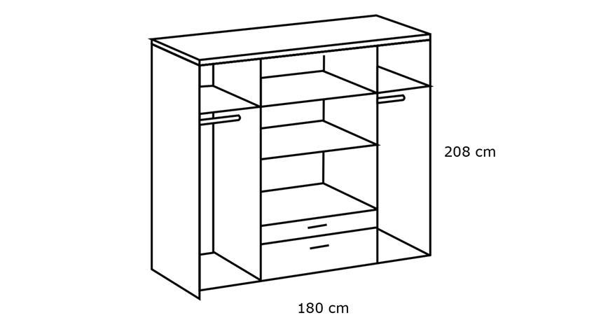 Kleiderschrank MAINAU 4-trg. Hickory-Oak Spiegel 180 cm