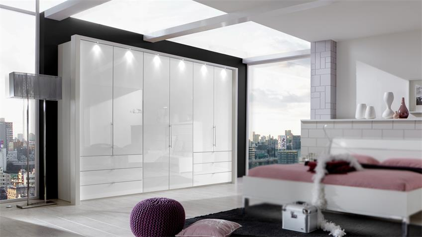 Kleiderschrank LOFT Schrank in weiß mit Glastür 300 cm