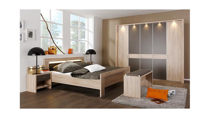 Schlafzimmerset 3 DONNA in Eiche sägerau und havanna