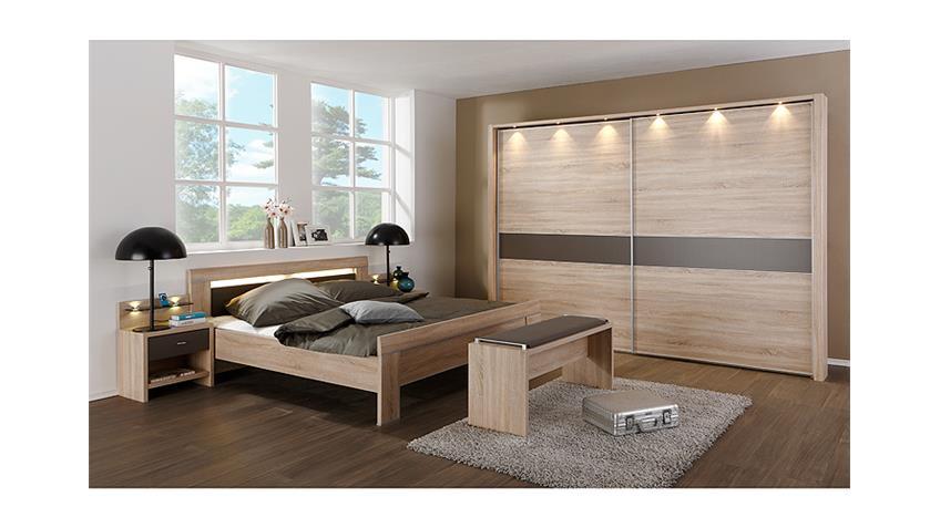 Schlafzimmerset 4 DONNA in Eiche sägerau und havanna