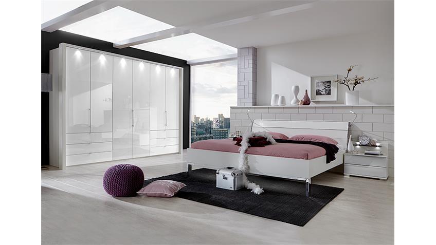 Schlafzimmerset LOFT Schrank Bett Nako weiß und Weißglas
