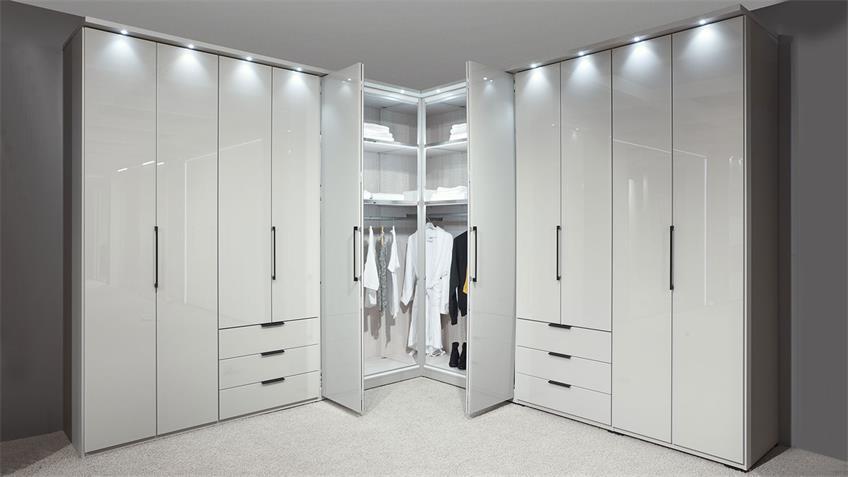 Eckschrank MONACO Kleiderschrank in weiß Glas 357x357 cm