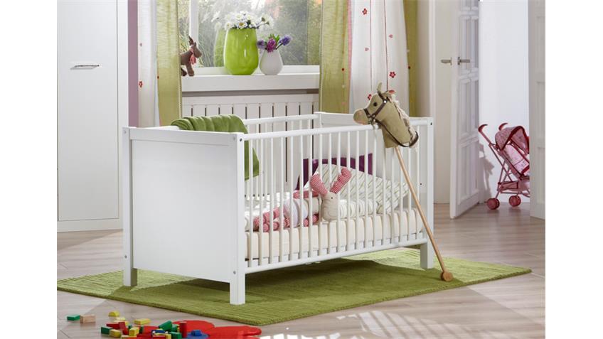 Babybett NIGHT Bett Alpinweiß Dekor Schlupsprossen 74x150