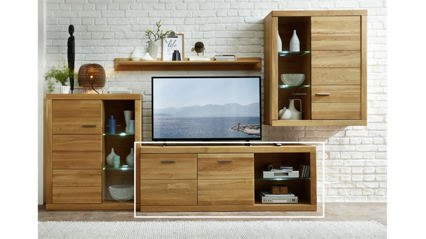 TV-Board Pur TV-Bank Wildeiche teilmassiv Glas LED 64 cm