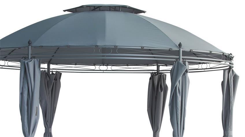Rund-Pavillon für Garten mit Seitenwänden grau 350 cm