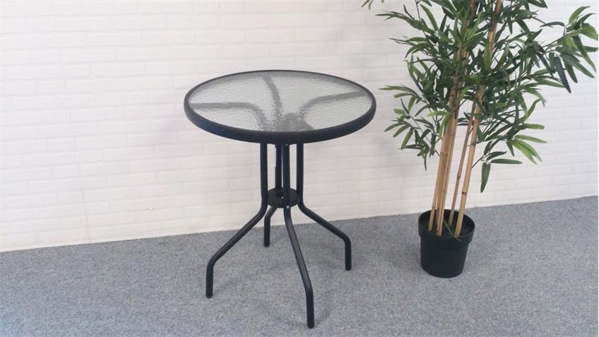 Bistrotisch rund anthrazit Glastisch Ø60cm Glasplatte Balkontisch