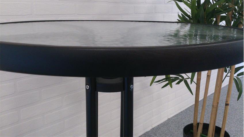 bistrotisch rund anthrazit glastisch 60cm glasplatte balkontisch. Black Bedroom Furniture Sets. Home Design Ideas