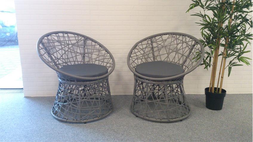 Rattan Korbsessel 2er Set grau Gartenstuhl mit Sitzkissen Outdoor