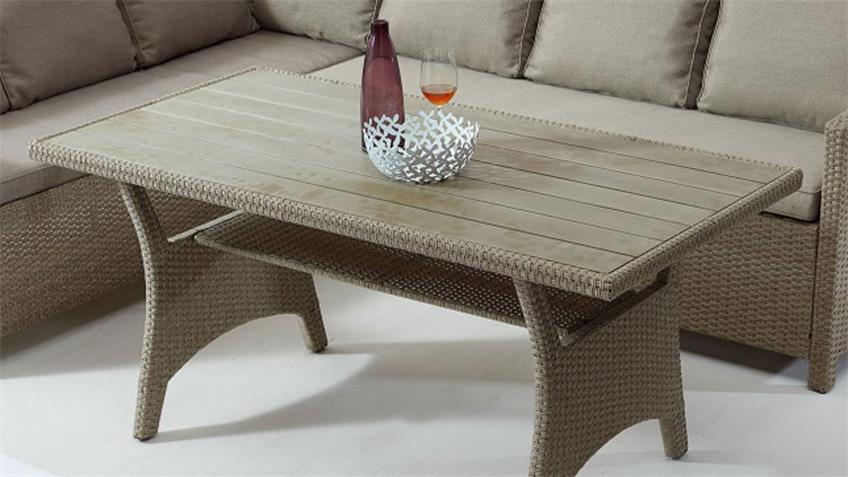 Loungeset Kreta Rattangeflecht Tisch Polywood Outdoor