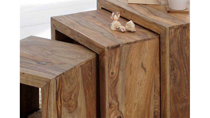 3 Satz Tisch Beistelltisch YOGA Sheesham Massiv Wolf Möbel