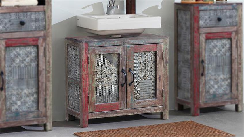 Waschbeckenunterschrank GOA RED 3549-HI Vintage Massivholz