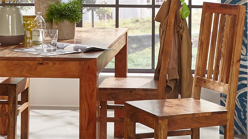 Esstischgruppe VISION Stühle Esstisch aus Akazie massiv