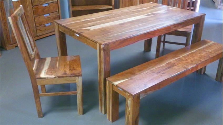 Esstischgruppe VISION Esstisch 4 Stühle Bank Akazie massiv Wolf Möbel