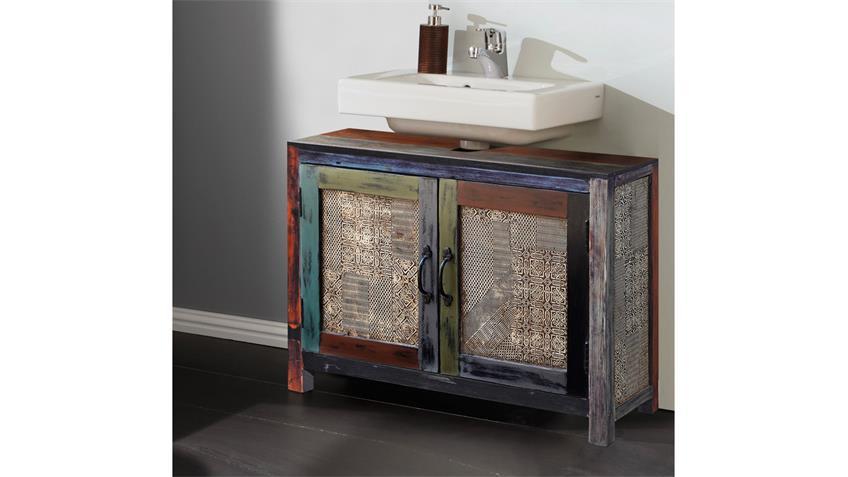 Waschbeckenunterschrank GOA 3597 Mango massiv Vintage Used Wolf Möbel