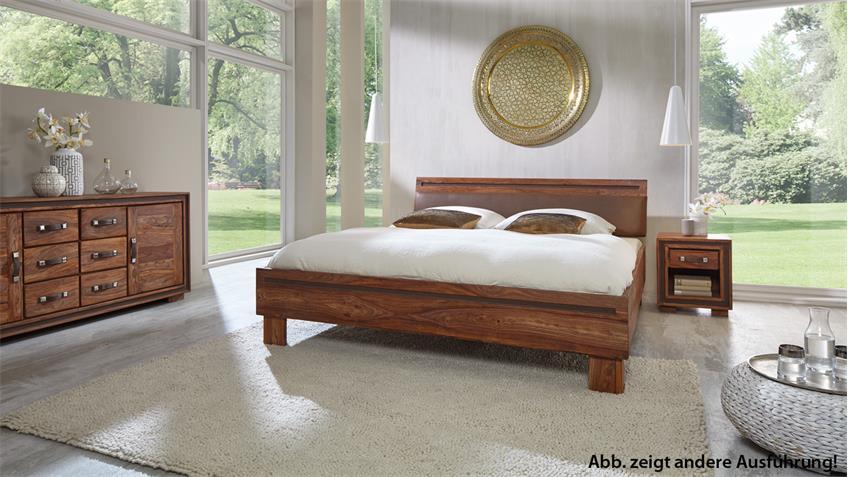 Bett SHAN 6321 Sheesham Massivholz shina braun 180x200 cm Wolf Möbel