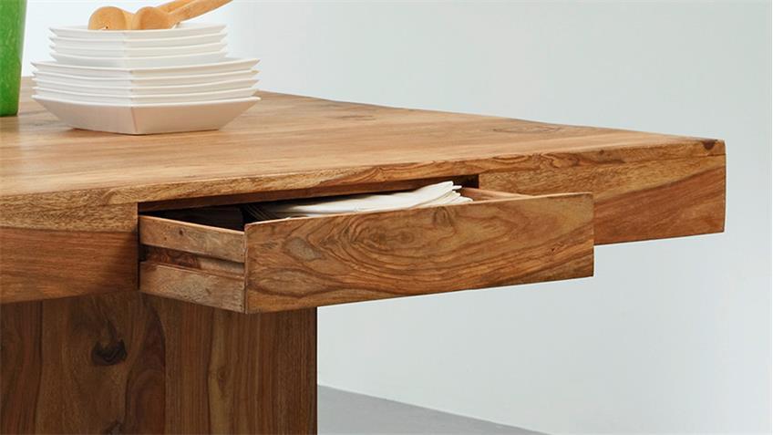 Esstisch YOGA 6408 Tisch Sheesham Massivholz natur 120x120 Wolf Möbel