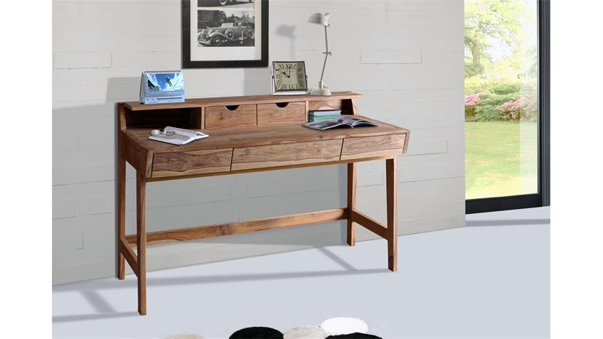 Schreibtisch YOGA 6470 Bürotisch Sheesham Massivholz natur Wolf Möbel