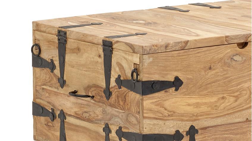 Truhe BOMBAY 6035 Holzkiste Sheesham Massivholz natur von Wolf Möbel