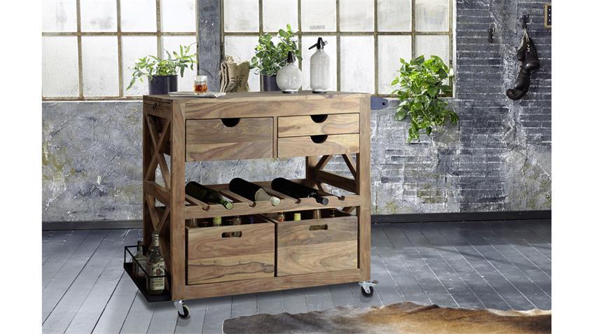 Küchenwagen BOMBAY 6052 Rollwagen Sheesham Massivholz natur Wolf Möbel