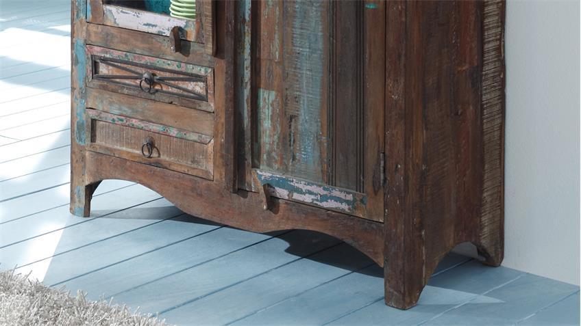Schrank HIMALAYA Altholz 3720 Vitrine old recycled wood von Wolf Möbel