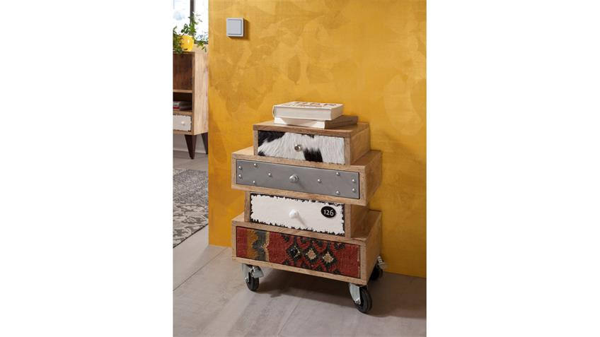 Kommode HIMALAYA Mix 3785 Mango natur Front mehrfarbig von Wolf Möbel