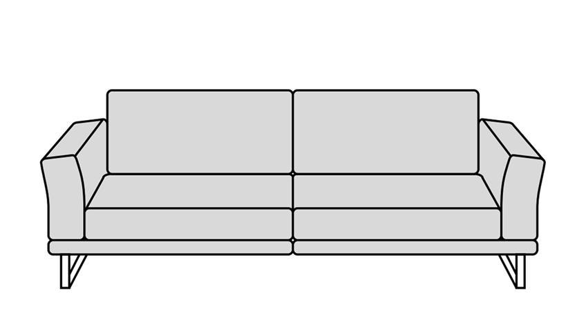 Sofa MONTANAA 2-Sitzer Leder schwarz 212 cm Willi Schillig