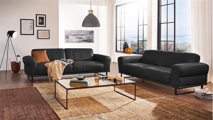 Garnitur MONTANAA 2er Sofa in Leder schwarz Willi Schillig
