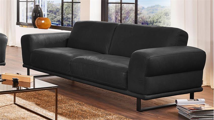 garnitur montanaa 2er sofa in leder schwarz willi schillig. Black Bedroom Furniture Sets. Home Design Ideas
