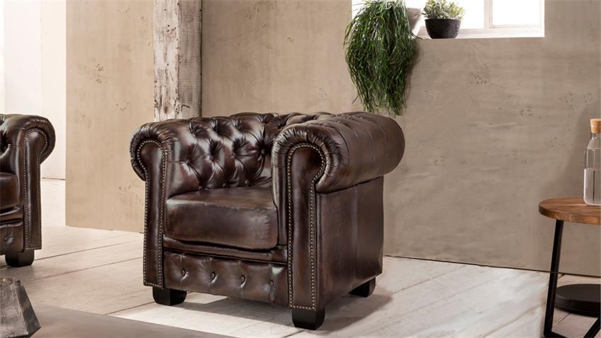 Chesterfield Sessel Leder braun Antik Luxus hochwertig