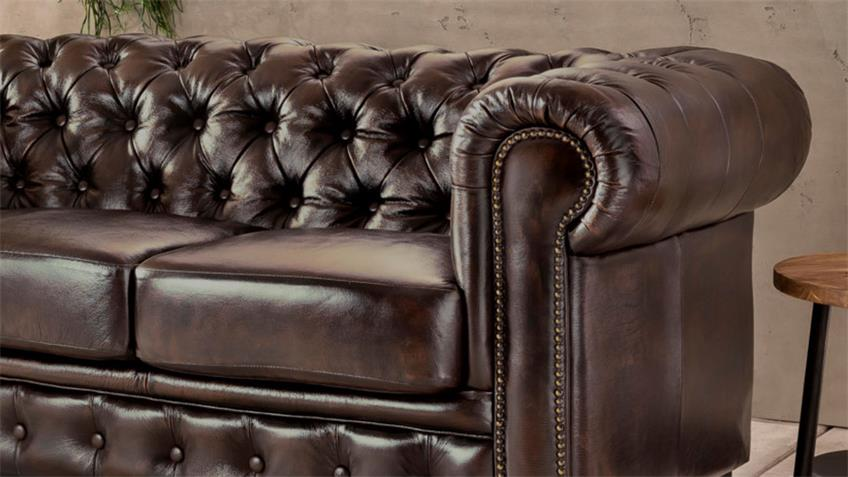 Chesterfield Sofa 3-Sitzer Leder Antik braun Luxus hochwertig