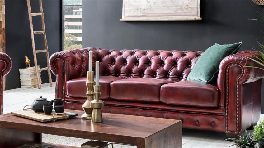 Chesterfield Sofa 3-Sitzer Leder Antik rot Luxus hochwertig