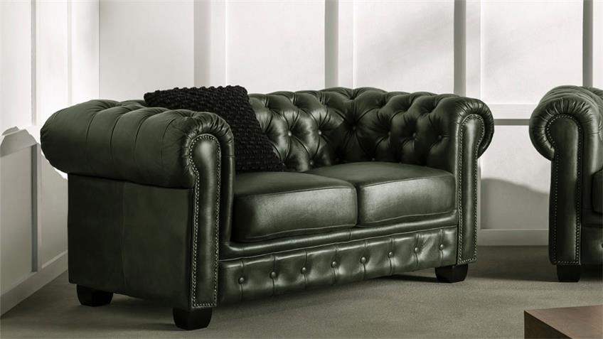 Chesterfield Sofa 2-Sitzer Leder grün Antik Luxus