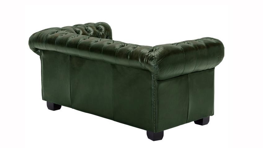 Chesterfield Garnitur 3-2-1 Leder Antik grün Luxus hochwertig