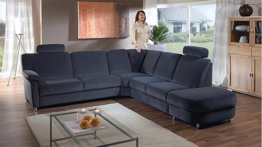 Ecksofa TOULOUSE Wohnlandschaft Sofa blau mit Funktion