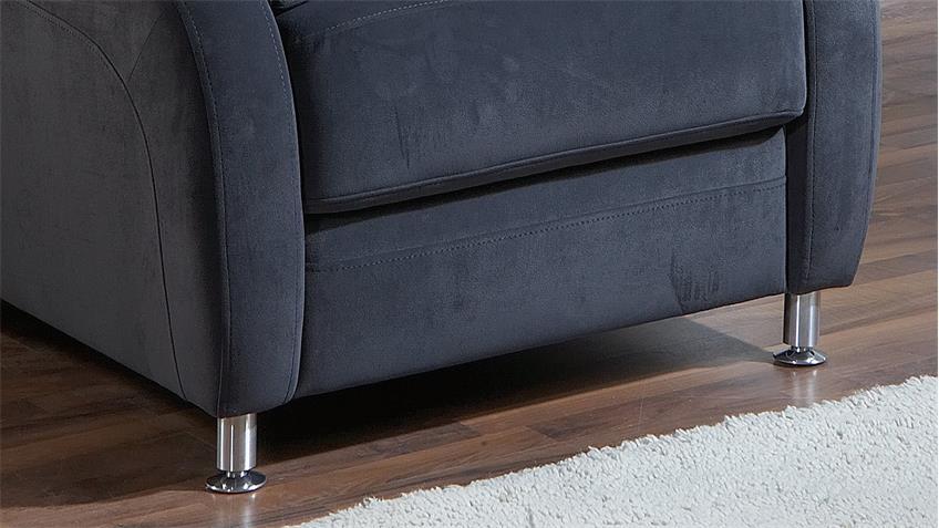 Sessel TOULOUSE Relaxsessel Sofa Stoff blau mit Kopfstütze