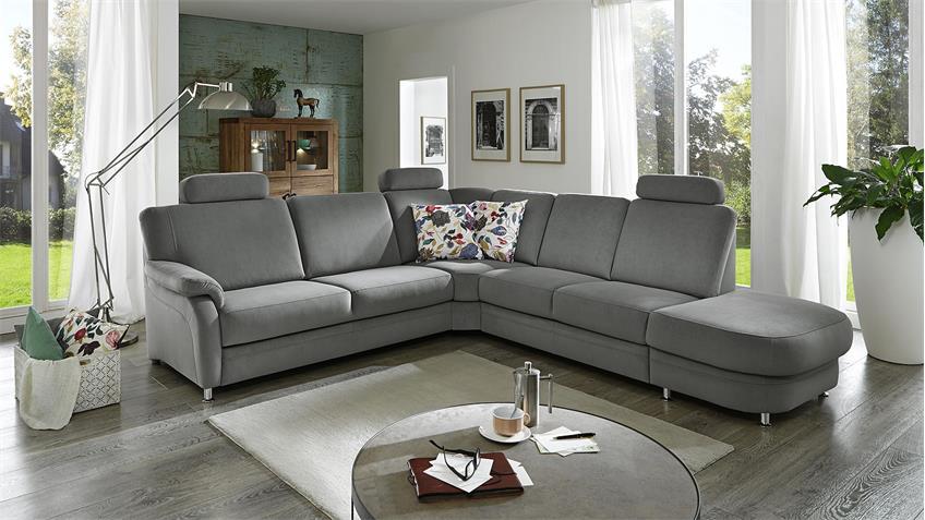 Ecksofa TOULOUSE Wohnlandschaft Sofa in Stoff grau 237x315