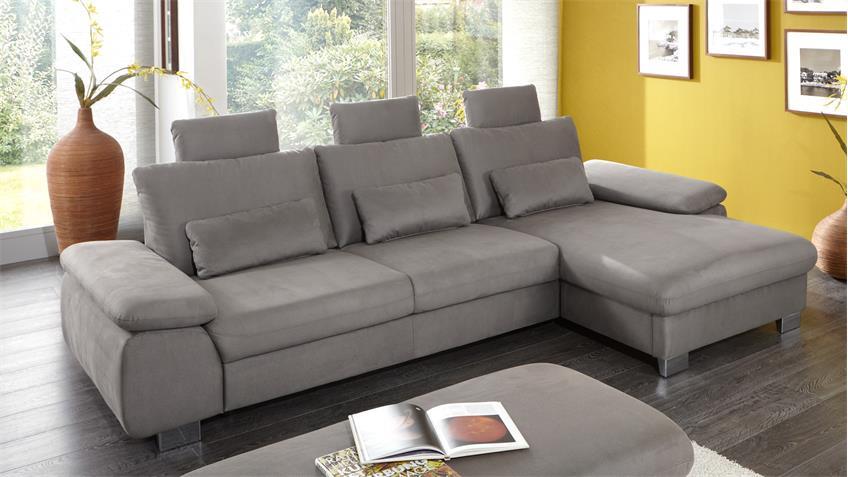 Ecksofa BLISS Wohnlandschaft Sofa Stoff in grau 290x184