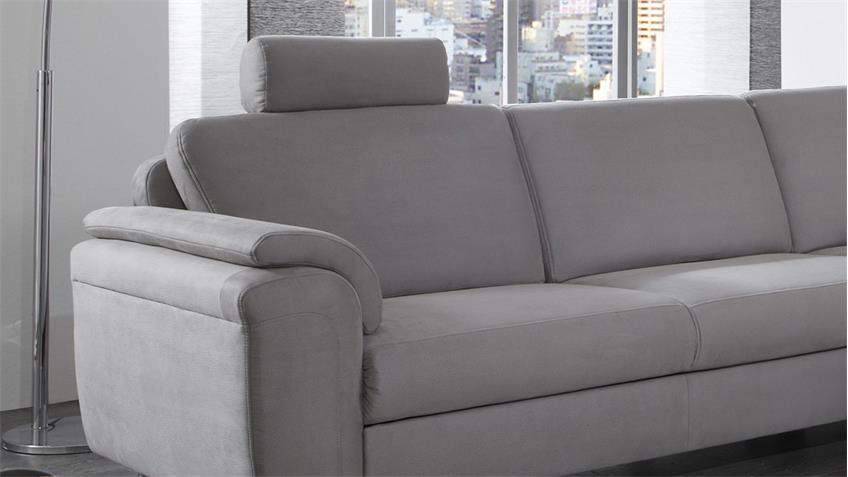 ecksofa oxfort bezug in stoff alu grau inkl nosagfederung 276x246 cm. Black Bedroom Furniture Sets. Home Design Ideas