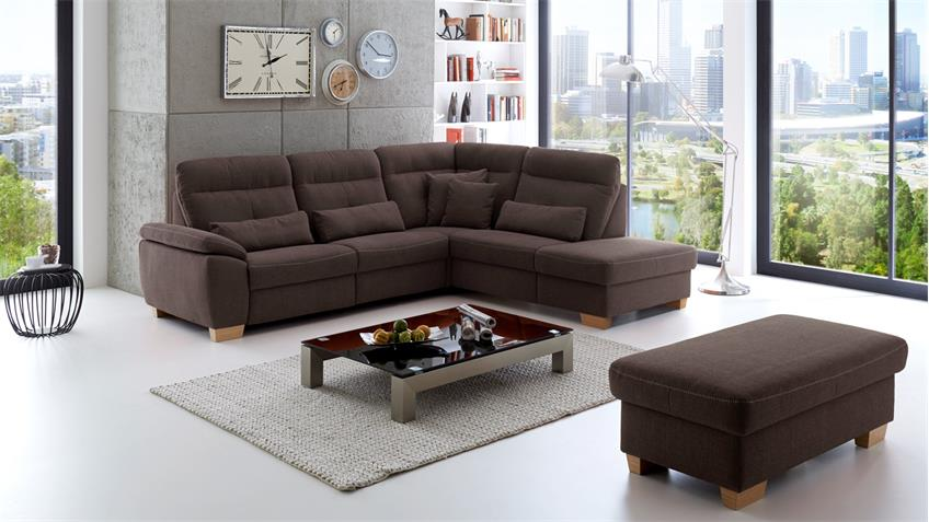 ecksofa zima bezug in stoff braun inkl. Black Bedroom Furniture Sets. Home Design Ideas